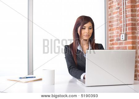 Business Woman Laptop In Modern Office