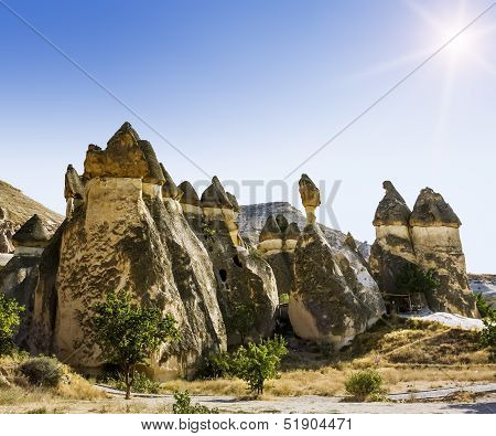 Bizarre Rock Formations Of Volcanic Tuff And Basalt In Cappadocia, Turkey