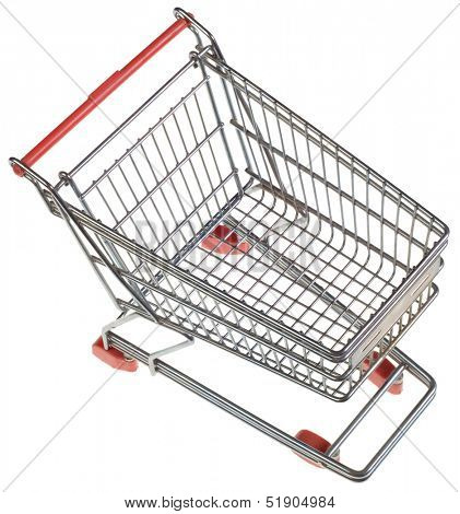 Empty Shopping Trolley from Above Isolated on White Background