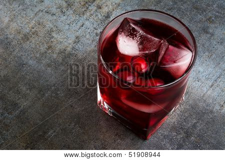 Cranberry Cocktail on Gray Slate