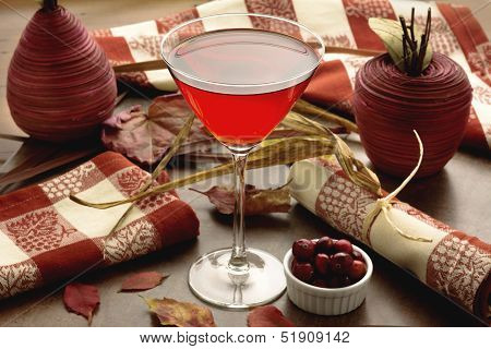 Cranberry Cranberry Cocktail With Autumn Theme