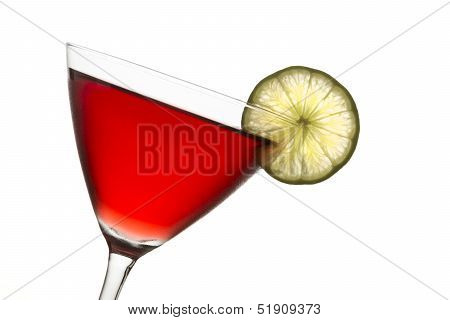 Crantini Cranberry Cocktail With Slice Of Lime