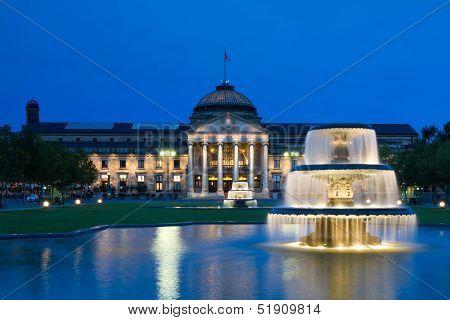 Kurhaus Wiesbaden At Night