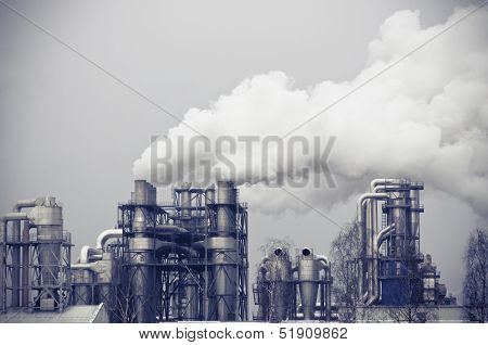 Smoke Pollution Produced By A Large Factory
