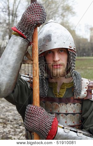 MOSCOW - APRIL 28: West warrior in helmet on Maneuvers East versus West, on April 28, 2013 in Moscow, Russia. Prototype of maneuvers East vs. West  served Battle of Grunwald.