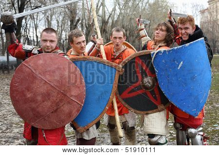 MOSCOW - APRIL 28: West soldiers with shields on Maneuvers East versus West, on April 28, 2013 in Moscow, Russia. Prototype of maneuvers East vs. West  served Battle of Grunwald.