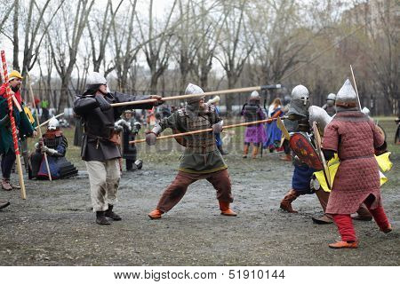 MOSCOW - APRIL 28: Soldiers at Battle of East - Russia-Orda XI-XV centuries on Maneuvers East versus West, on April 28, 2013 in Moscow, Russia.  Organizer of event - Paladin fencing center.