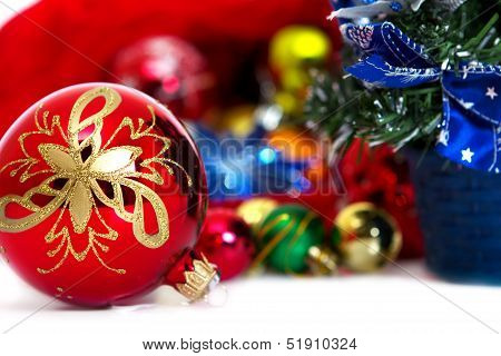 Beautiful Christmas Background With Bright Ornaments