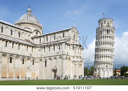 Tower Of Pisa With Cathedral
