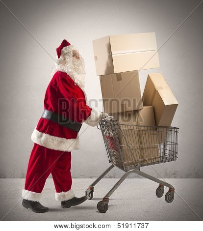 Santa Claus With Shopping Cart