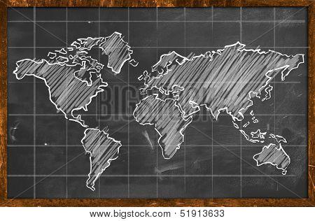 World map chalk drawing blackboard
