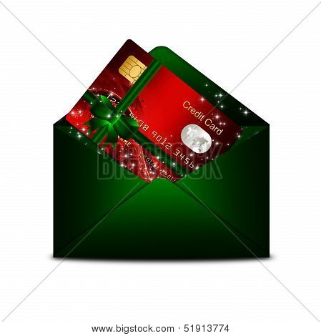 Christmas Credit Card In Green Envelope Isolated Over White