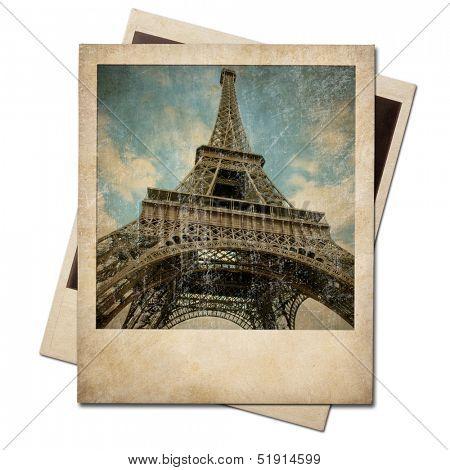 Vintage polaroid Eiffel tower instant photo
