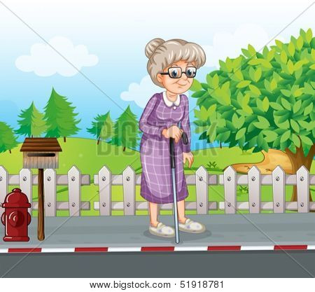 Illustration of an old woman at the street with a cane standing near the mailbox