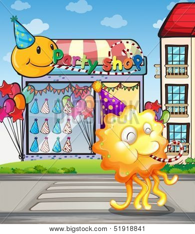 Illustration of a happy orange monster at the pedestrian lane in front of the party shop