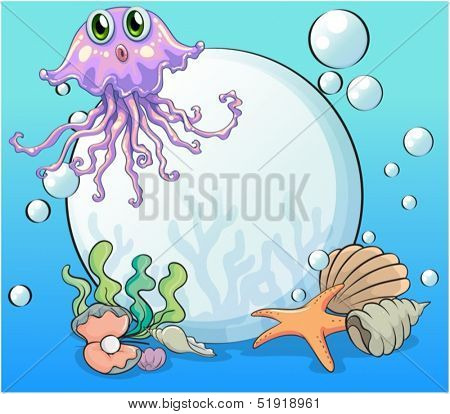 Illustration of a big pearl and the violet octopus under the sea