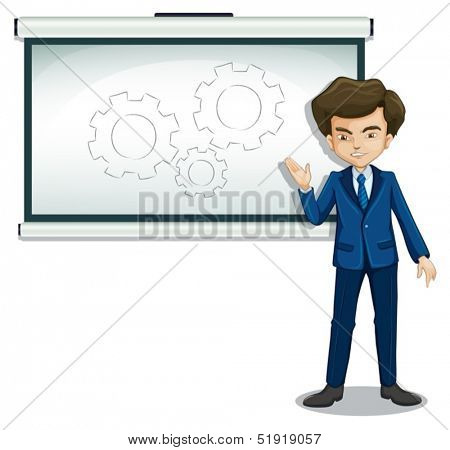 Illustration of a man discussing the drawing in the bulletin board on a white background