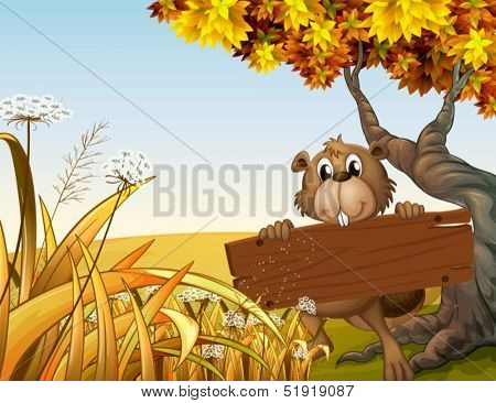 Illustration of a beaver at the top of the hill holding a wooden signboard