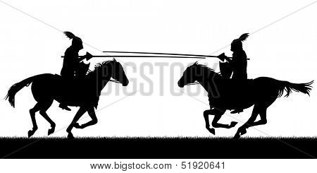 Illustrated silhouettes of two knights on horses jousting