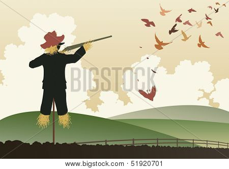 Illustration of a scarecrow shooting pigeons with a shotgun