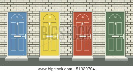 Illustration of four colorful front doors