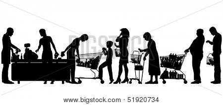 Illustrated silhouettes of people in a supermarket checkout queue