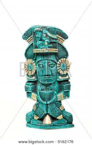 Mayan God Statue From Mexico Isolated