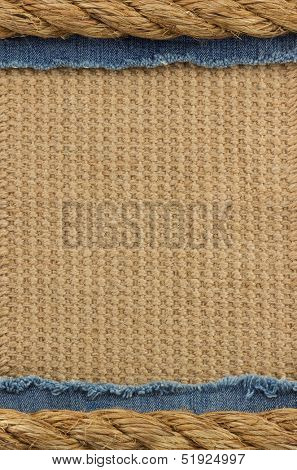 ship ropes on sack background texture