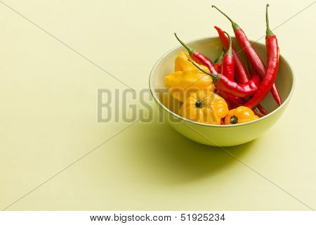 chili peppers and habanero in ceramic bowl on colorful background