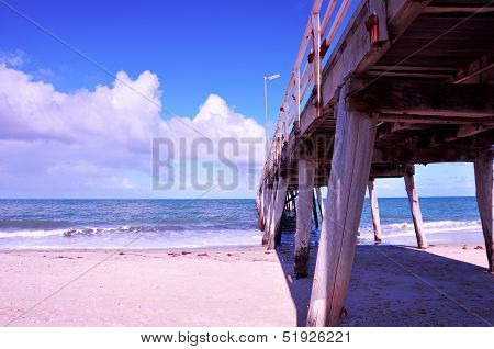 The Grange Jetty Pier Taken At Grange, South Australia On Sunny Summer Spring Day.