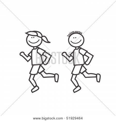 Boy girl man woman running