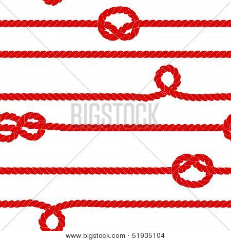 Navy rope in red and white seamless pattern, vector