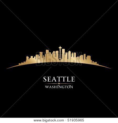 Seattle Washington City Skyline Silhouette Black Background