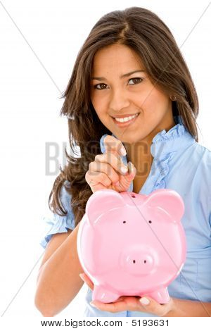 Casual Woman Saving Money