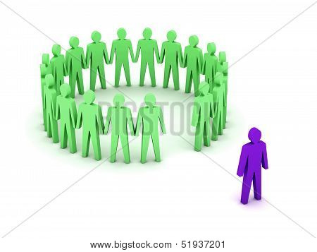 Stand out from the crowd. Unusual person. Concept 3D illustration.