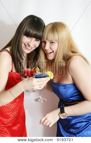 Beautiful Girls With Cocktails