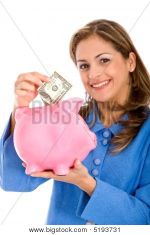 Woman Saving Money