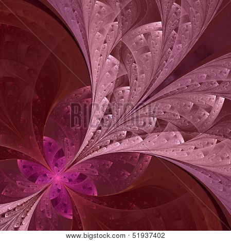 Beautiful Fractal Flower In Vinous And Purple. Computer Generate