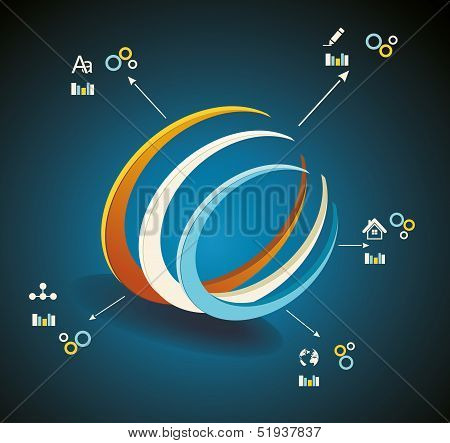 Vector 3D Symbol/ Business Communication / Network Technology
