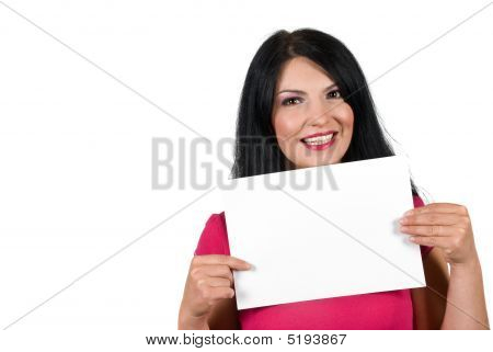 Young Woman With Blank Sign