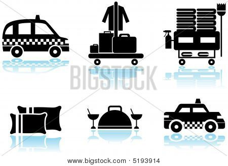 Hotel Service Black Icon Set