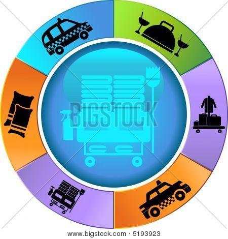 Hotel Service Wheel Icon Set