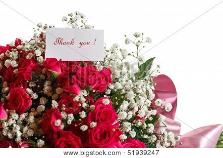 Bouquet Of Red Roses With Thanks