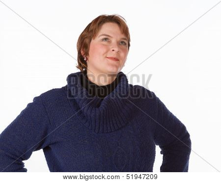 Caucasian woman in blue and red