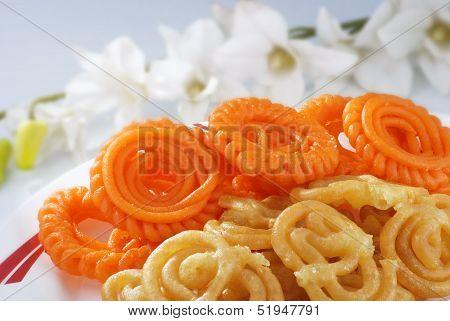 Jalebi & Imerti with flowers