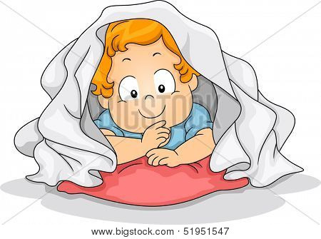 Illustration of a Young Boy Crouched Inside a Blanket