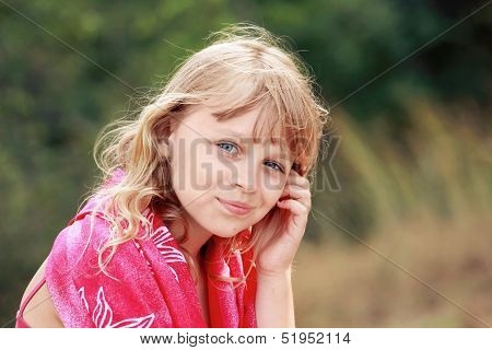 Outdoor Summer Portrait Of Little Blond Caucasian Girl In Red Shawl