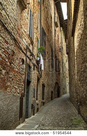 Narrow street in Bergamo, Italy