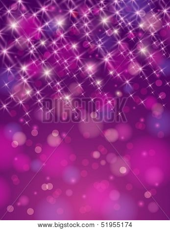 Christmas Purple Background With Brilliance Stars