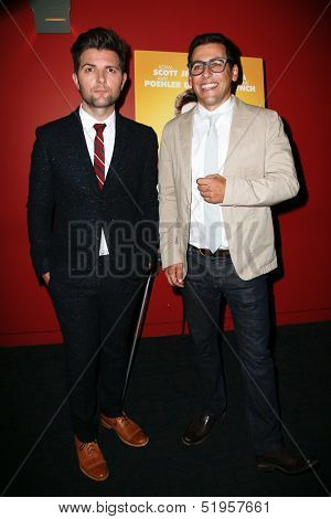 NEW YORK-OCT 3: Actor Adam Scott (L) and director Stuart Zicherman attend the premiere of 'A.C.O.D.' at the Landmark Sunshine Theater on October 3, 2013 in New York City.